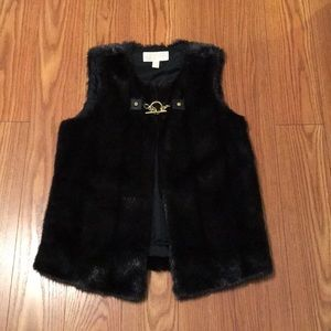 Michael Kors Black Faux Fur vest w/ free earrings